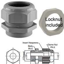 Our PG13 gland includes a locknut, which screws on at the bottom (in photo at left) to affix the gland to an enclosure.