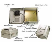 HWN141F Mounting Plate Enclosure 14x12x7 w/ 120VAC, FAN, Thermostat. FRP NEMA
