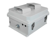 Outdoor ventilated network enclosure with Mounting Plate and 120 volt AC power.