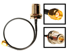 Antenna cable: N-female To RP-SMA male Reverse Polarity:  10-inch coaxial