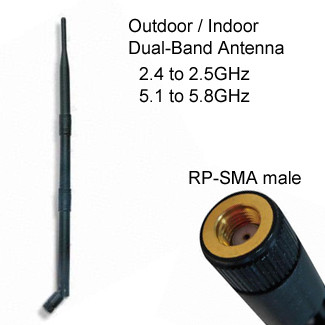 Outdoor Dual Band 2.4GHz and 5GHz WiFi Omni Directional Antenna