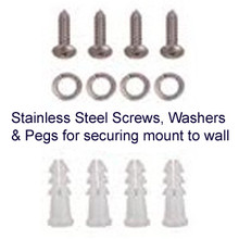 Stainless steel set-screws with washers and pegs:  For mounting L-mounts to a wall.