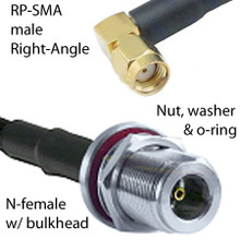 N-female connector with o-ring for weatherproofing to RP-SMA male right-angle.   Coaxial cable type is LMR-200, which is a very low loss coax.