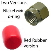 The nickel version has an interior O-ring to seal out intrusion of dust and water.  The red rubber version is very economical intrusion protection.