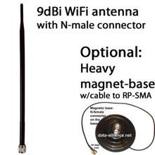 Antenna 9dBi omni 2.4GHz w/ N-male connector. WiFi. Dipole