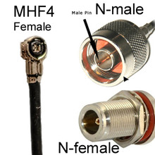Antenna cable with MHF4 micro-connector (female) to N-male or N-female connector