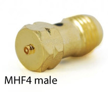 "MHF4 male (seen here) is the ""jack"" of the U.FL series - meaning that it is the connector typically found on Printed Circuit Boards (PCBs) and BlueTooth beacons."