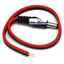 DC barrel plug with 1-foot lead-wire: Dimensions: 5.5mm x 2.1mm
