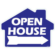 Open House with arrow - Rounded House Shaped Sign 18x24