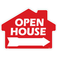 Open House with arrow - Rounded House Shaped Sign 18x24  Red