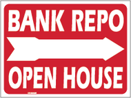 Bank Repo Open House with blank 18 x 24 Yard Sign Red