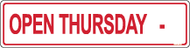 Open Thursday with Blank for Hours 6 x 24 Corrugated Rider Red