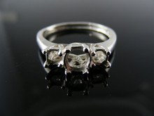 5739  RING SETTING STERLING SILVER, SIZE 8.75, 1)5.5MM 2)3.5 MM ROUND FACETED STONES