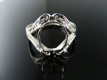 5767 RING SETTING STERLING SILVER, SIZE 8.25, 11X9MM OVAL STONE