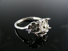 1308 RING SETTING STERLING SILVER, SIZE 7, 7 MM ROUND STONE