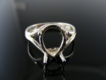 1126 RING SETTING STERLING SILVER, SIZE 8.5, 14X9 MM PEAR FACETED STONE