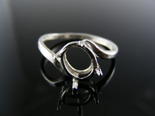 5681 RING SETTING STERLING SILVER, SIZE 6.75, 8X6 MM OVAL STONE
