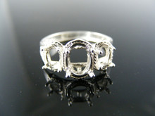 2911 RING SETTING STERLING SILVER, SIZE 6.5, 1)7X5, 2)6X4 MM OVAL STONES