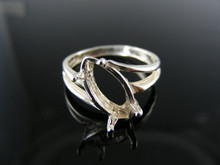 5668 RING SETTING STERLING SILVER, SIZE 7.75, 14X7MM MARQUEE STONE