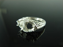 R94 RING SETTING STERLING SILVER SIZE 7, (2) 6 MM TRILLION STONES