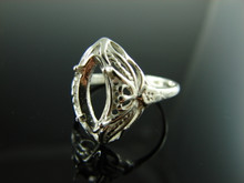 6029 Ring Setting Sterling Silver Size 10, 12x6 mm Marquise Gemstone