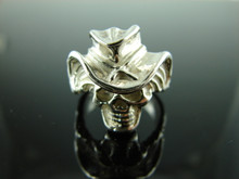 6034 Cowboy Skull Sterling Silver Ring Setting Size 9.5