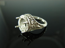 5918 Ring Setting Sterling Silver Size 6, 10x8 Oval Cab or Facet Cut Gemstone