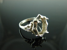 5902 Ring Setting Sterling Silver Size 8.25, 14x7mm Cab or Faceted Marquise Gemstone