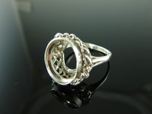 5885 Ring Setting Sterling Silver Size 8.5, 14x12mm Oval Cab or Faceted Gemstone