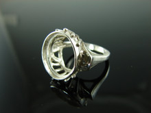 3740 Ring Setting Sterling Silver Size 4.75, 14x12mm Oval Cab or Faceted Gemstone