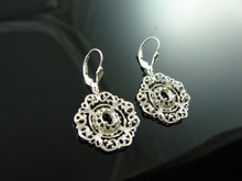 5881 Sterling Silver Lever Back Dangle Earrings, 7x5mm Oval Gemstones