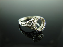 6042 Ring Setting Sterling Silver Size 4.5, 7x5mm Oval Gemstone