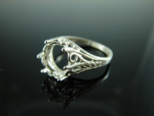6041 Ring Setting Sterling Silver Size 8.25, 10x8mm Oval Gemstone
