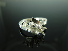 6062 Ring Setting Sterling Silver Ring Size 8, (3) 5mm Round Facet Cut Gemstones