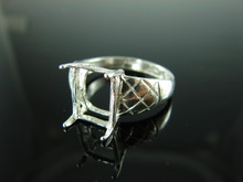 6065 Ring Setting Sterling Silver Ring Size 10.75, 11x9mm Emerald Facet Cut Gemstone