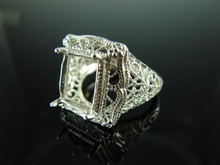 5855 Ring Setting Sterling Silver Size 8.25, 12x10mm Emerald Cut Gemstone