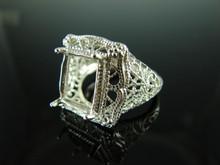 5855 Ring Setting Sterling Silver Size 8.25, 12x10mm Emerald Cut Gemstone