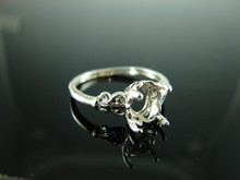 6079 Ring Setting Sterling Silver Size 7.75, 9x7mm Oval Gemstone