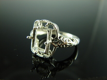 6098 Ring Setting Sterling Silver Size 7.25, 8x6mm Emerald Cut Gemstone