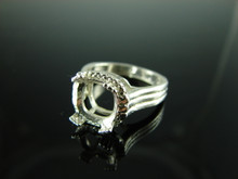 6100 Ring Setting Sterling Silver Size 6.75, 8mm Cushion Cut Gemstone