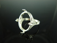 5845 Ring Setting Sterling Silver Size 8.75, 20x15 mm Cab Only Gemstone