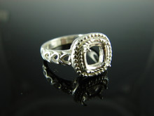 6103 Ring Setting Sterling Silver Size 8.25, 7 mm Cushion Cut Gemstone