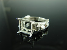6105 Mermaid Ring Setting Sterling Silver Size 8.25, 10mm Square Gemstone