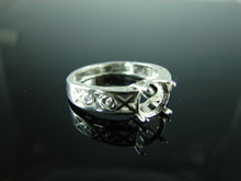 6107 Ring Setting Sterling Silver Size 8, 8mm Round Gemstone