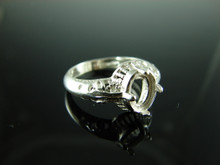 6110 Ring Setting Sterling Silver Size 7, 8x6mm Cab or Facet Cut Gemstone