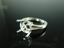 6114 Ring Setting Sterling Silver Size 7, 11mm Round Gemstone