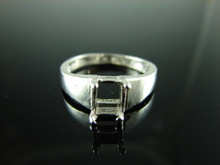 6118 Ring Setting Sterling Silver Size 7.25, 7x5 mm Emerald Rectangle Cut Gemstone