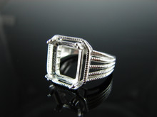 6119 Ring Setting Sterling Silver Size 7.25, 11x9 mm Emerald Rectangle Cut Gemstone