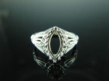 6124  Ring Setting Sterling Silver Size 7, 12x6 mm Marquise Cut Gemstone