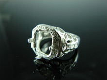 6128 Ring Setting Sterling Silver Size 7.75, 11x9 mm Emerald Rectangle Cut Gemstone